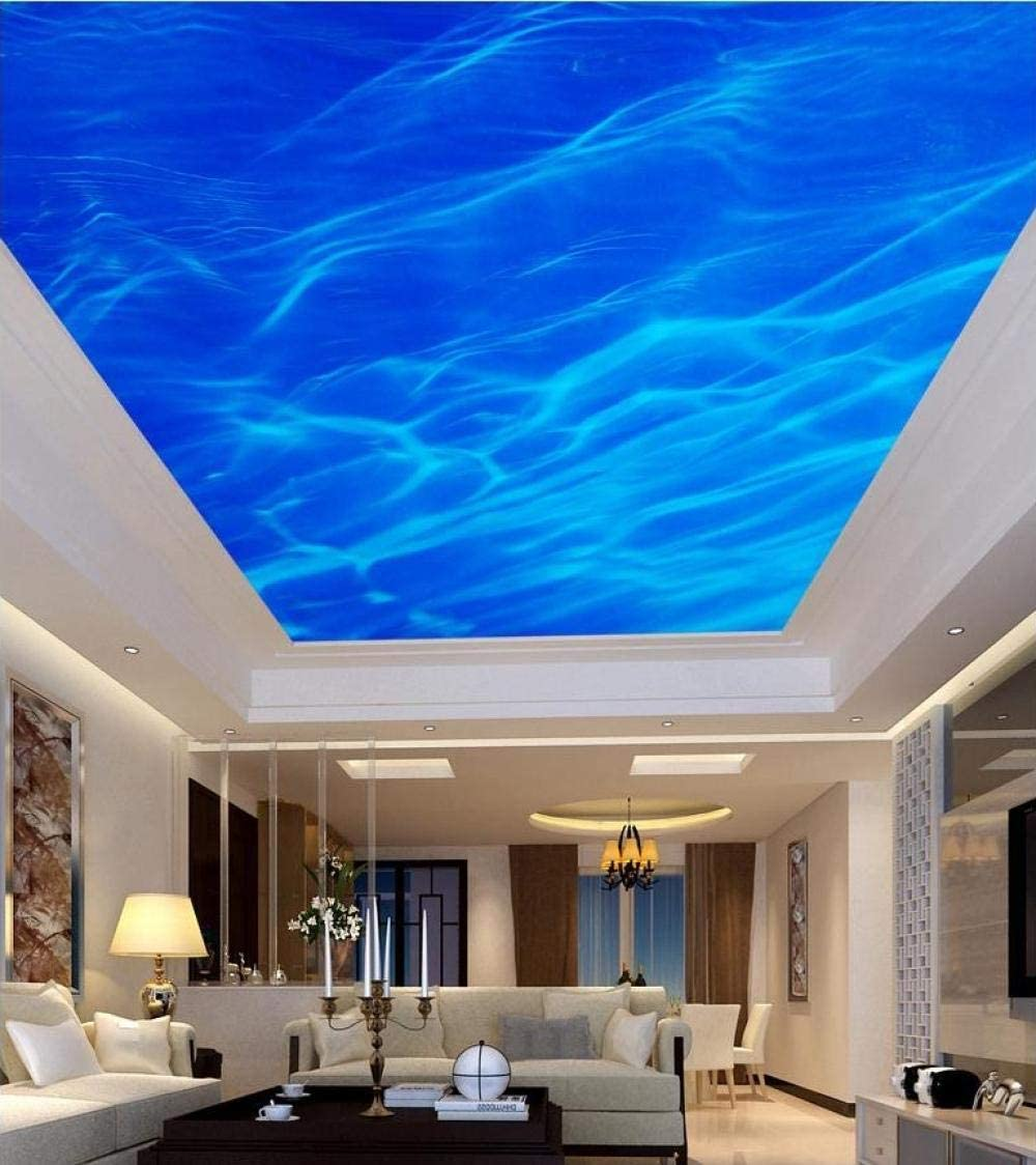 Customizable Roof Painting Ceiling Mural Living Room Bedroom Ceiling Mural Decoration Non Woven Fabric Blue Sea Water Ripples Amazon Co Uk Diy Tools