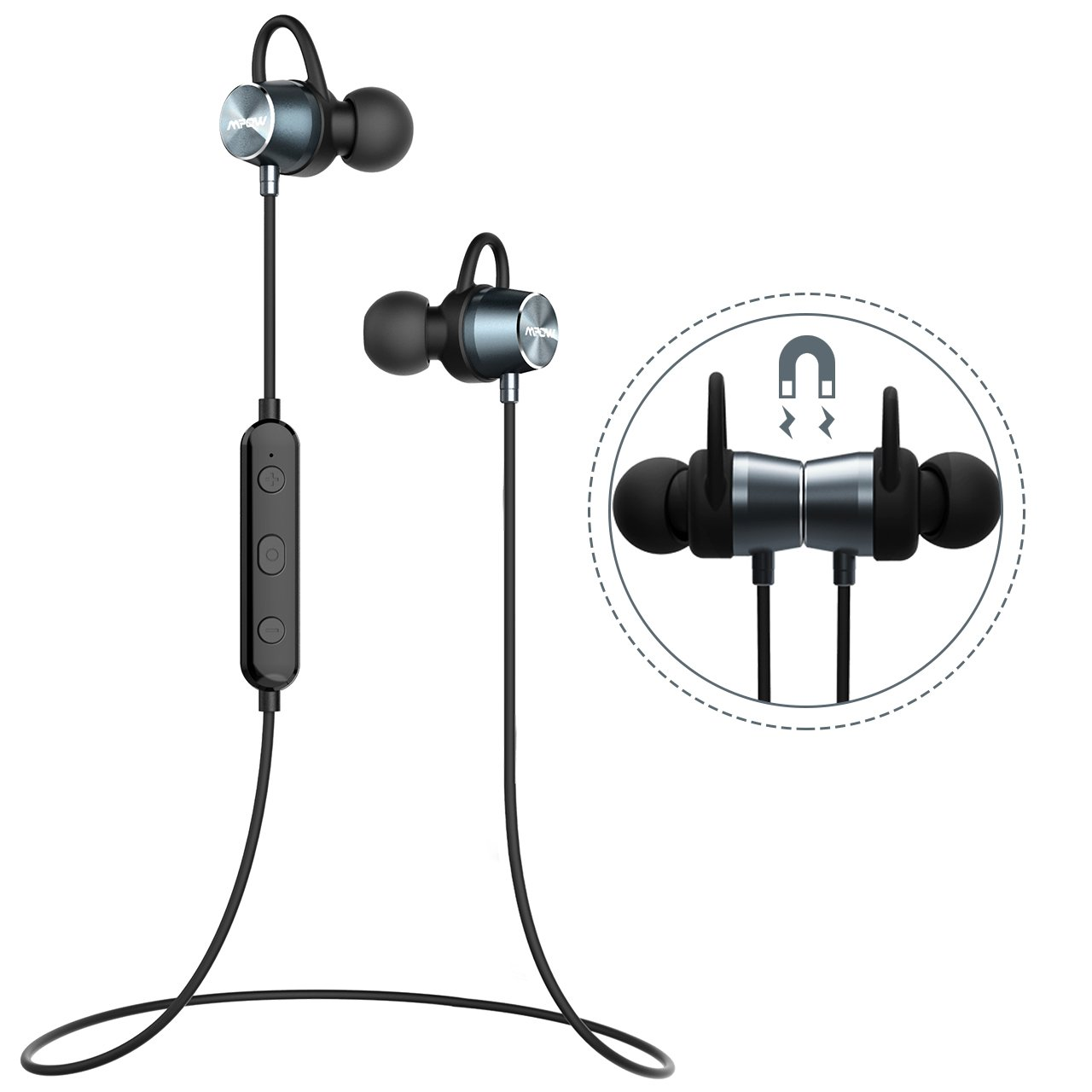 Bluetooth Headphones Mpow Judge Magnetic Bluetooth Earbuds, IPX7 Sweatproof Magnetic Stereo Bluetooth Earphones Wireless Sports Earbuds Inline Control with MIC for Running Jogging Workout-Black MPBH083AD-CA