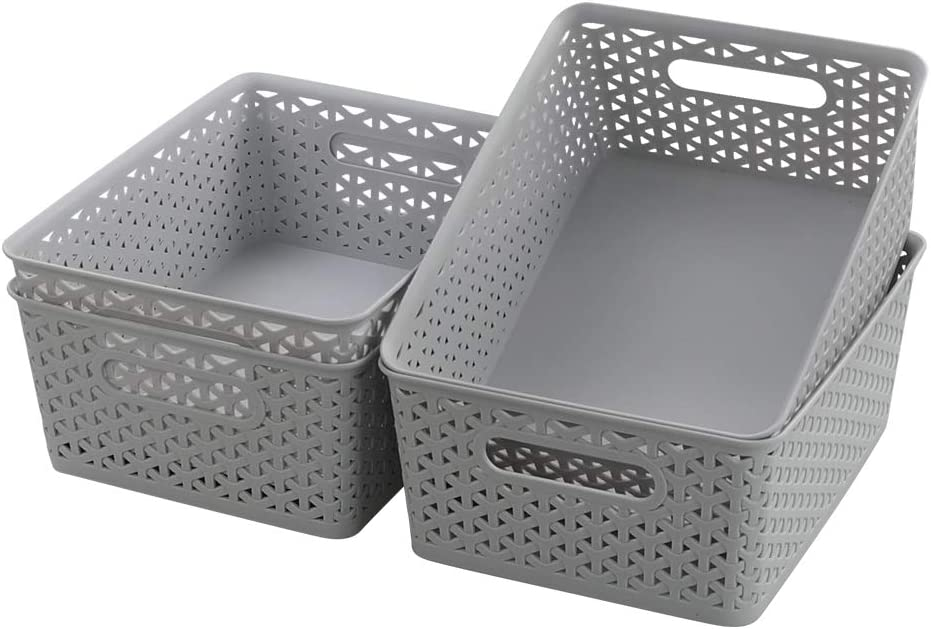 Vababa Plastic Storage Basket, Rectangle Desktop Organizer Bin, Pack of 4 (Grey)