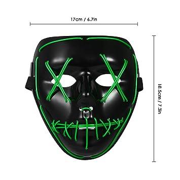 Decdeal Adultos Máscara de LED Halloween,Esqueleto Mascaras Suministros de Disfraces de Halloween para Fiesta de Cosplay Masquerade: Amazon.es: Hogar