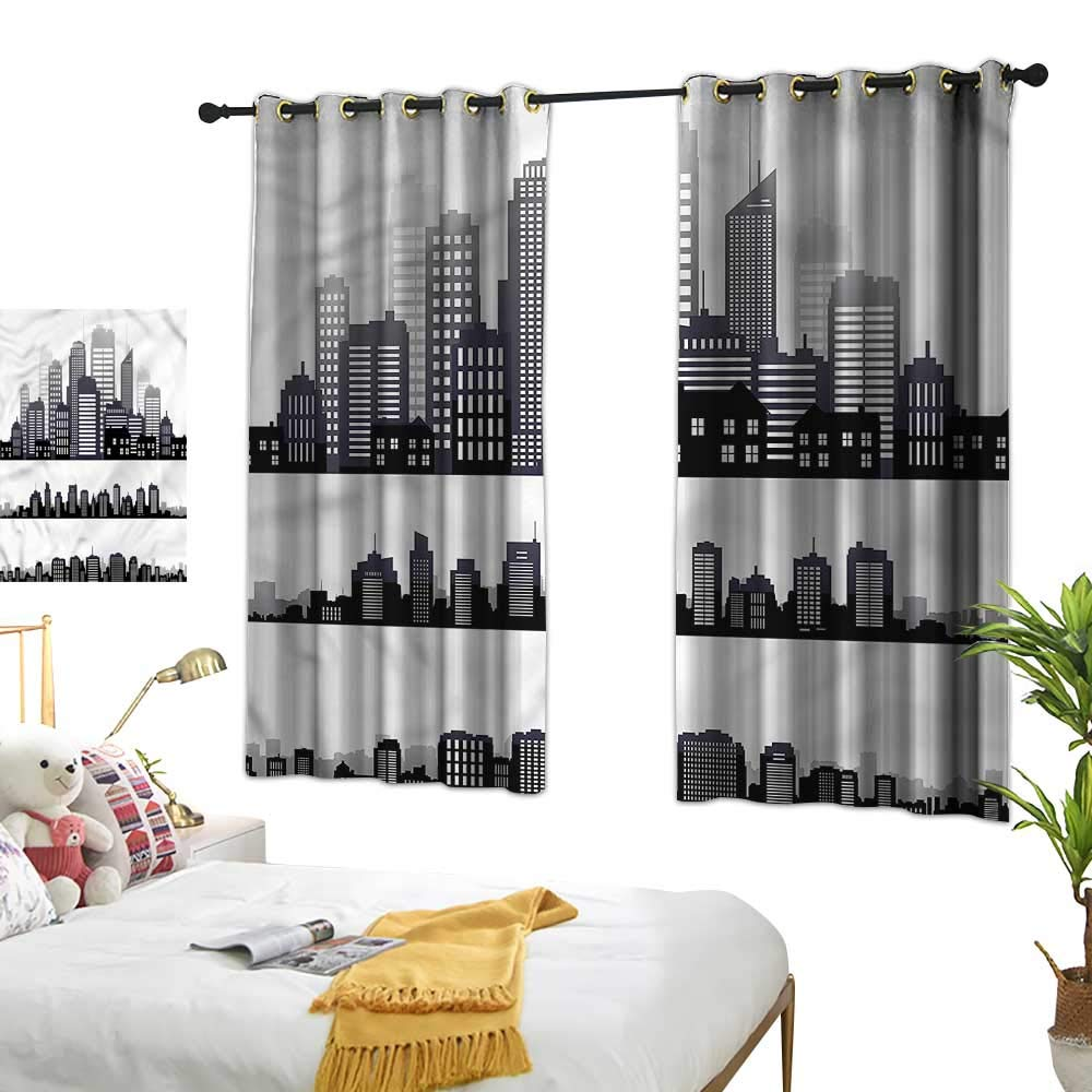 Amazon.com: Double Curtain Rod City,Long Buildings Skyline ...