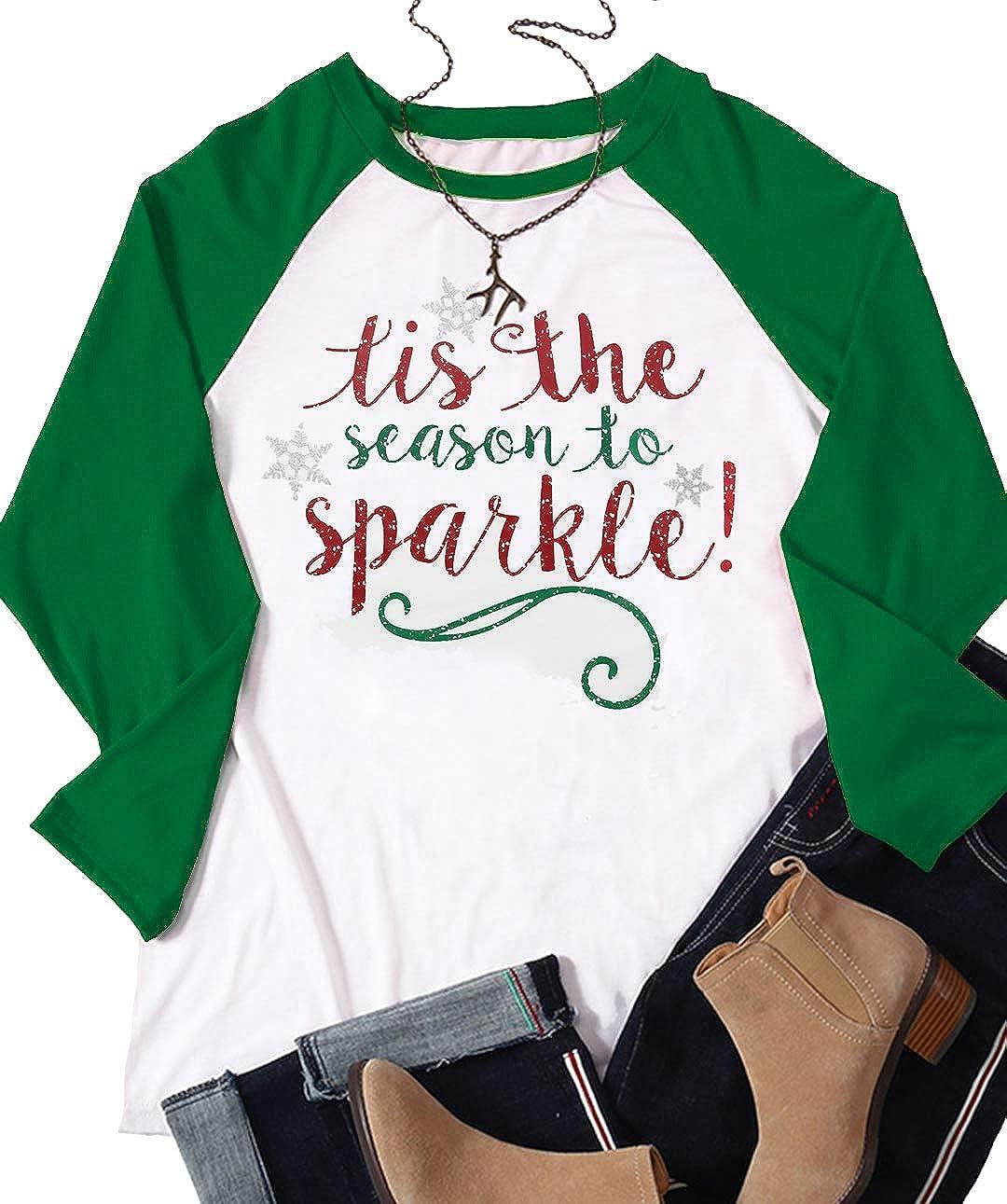 fdbd54d740db Amazon.com: Women Tis The Season to Sparkle Christmas Raglan Sleeve T Shirt  Funny Snowflake Print 3/4 Sleeve Splicing Tops Tees Size 2XL (Green):  Clothing