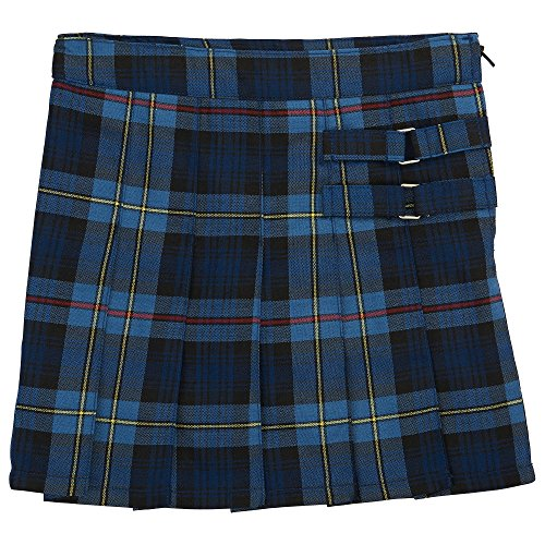 (French Toast Big Girls' Plaid Pleated Scooter, Blue/Red, 14)