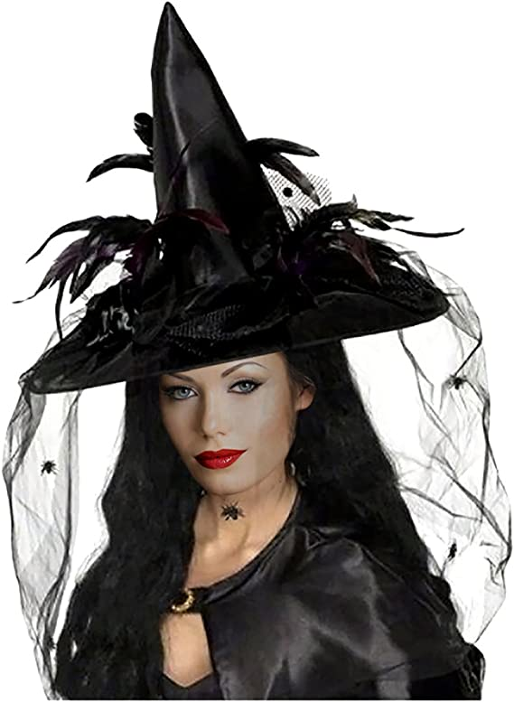 2 Pack Halloween Witch Hat Witches Gauze Veil Cap Spoof Hat Witch Costume Accessory for Cosplay Party Favors