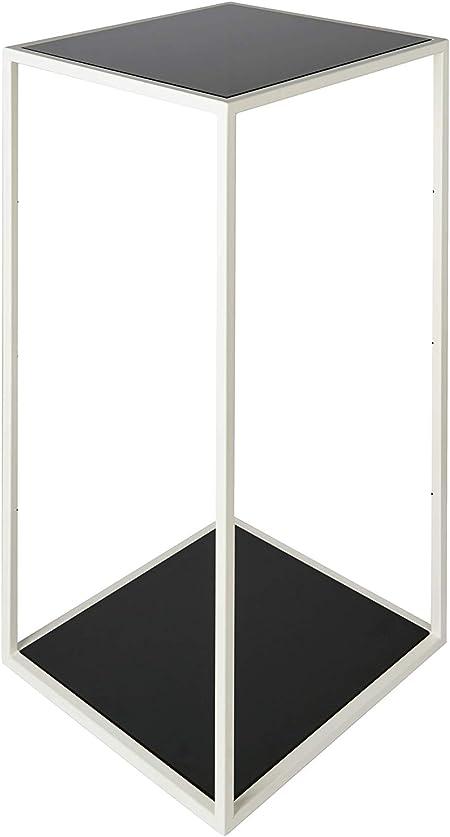 CFM Mesa de diseño de salón cuadrada Minimal y elegante color blanco mate con 2 estantes de cristal, 39 x 39 x 78 cm: Amazon.es: Hogar
