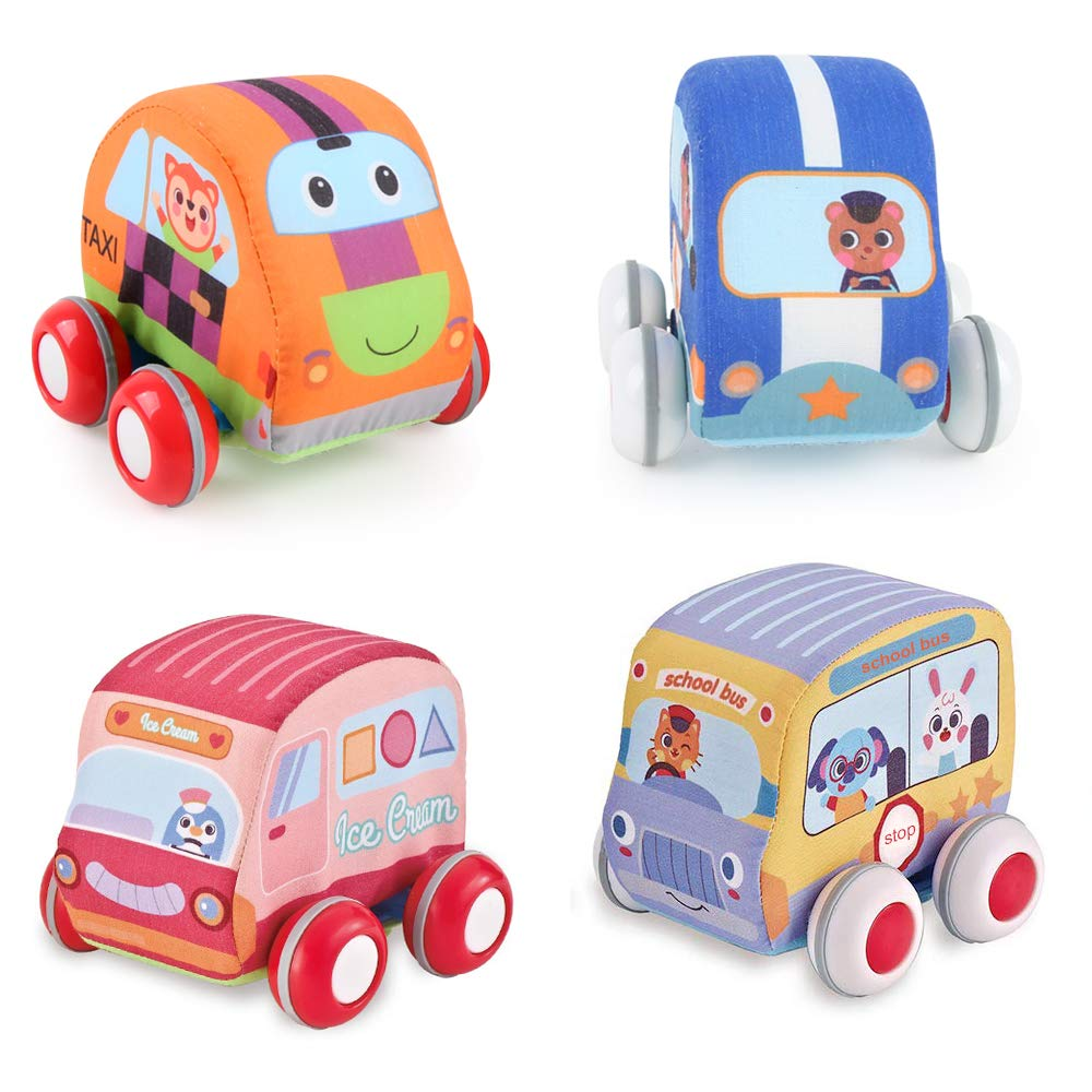 Beebeerun Car Toys Gifts for Toddlers, Kids Pull-Back Vehicle Set - Soft Baby Toy Set with 4 Cars and Trucks