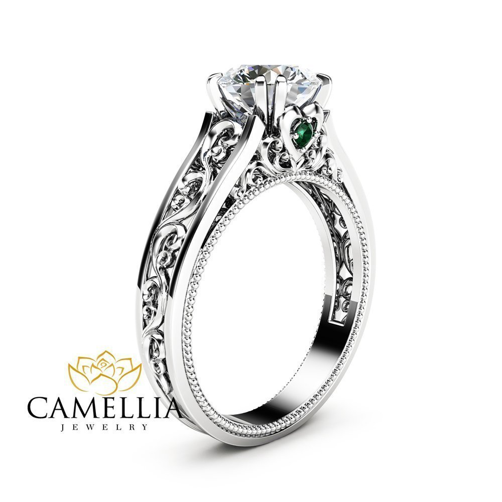 White Gold Moissanite Engagement Ring Milgrain Vintage Ring with Emeralds by Camellia-Jewelry