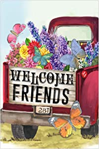 Morigins Welcome Friends Spring Old Red Truck Floral Butterfly House Yard Flag 28x40 inch