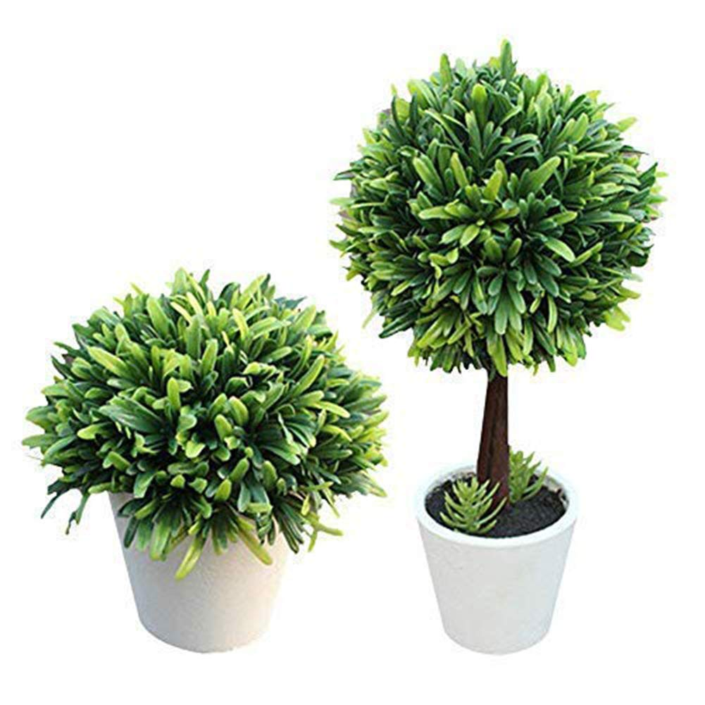 2 Pack Potted Artificial Plants Plastic Fake Tree Plants Bushes Artificial Shrubs Plants Artificial Potted Plants for Outdoors Home Decor