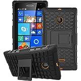 Microsoft Lumia 435–élégant antichoc double coque avec support et film protecteur d'écran, noir, N/A