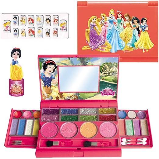 Juego de maquillaje infantil para niñas, maletín de maquillaje de Disney Fashion para niños, seguro y no tóxico, lavable, juego de maquillaje cosmético para juegos de rol, princesas rojo: Amazon.es: Hogar