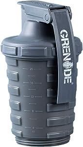 Grenade Shaker Bottle | Protein Blender Powder Storage Capsule Storage | 20oz Bottle | BPA Free Dishwasher Safe | Gun Metal Grey