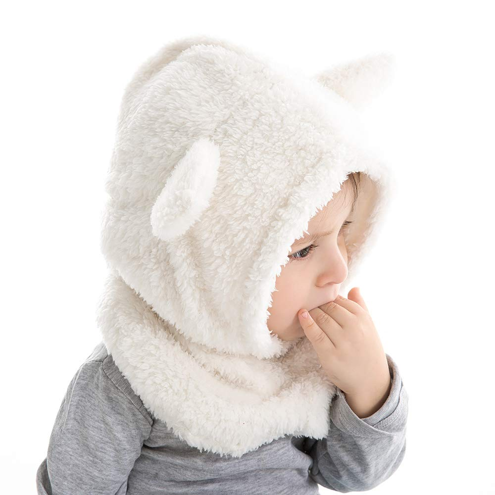 Baby Girls Winter Hat Boys Warm Scarf Hat Kids Thick Earflap Hood Cap with Ear 6M-4T