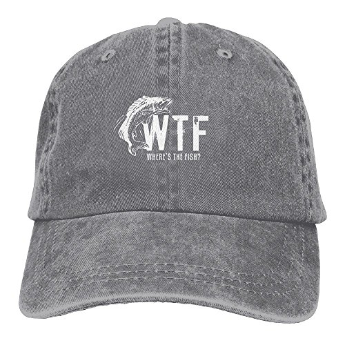 (WTF Where's The Fish Easy Adjustable Unconstructed Womens Cool Sunbonnet Boven Hat Adults Gifts Ash)