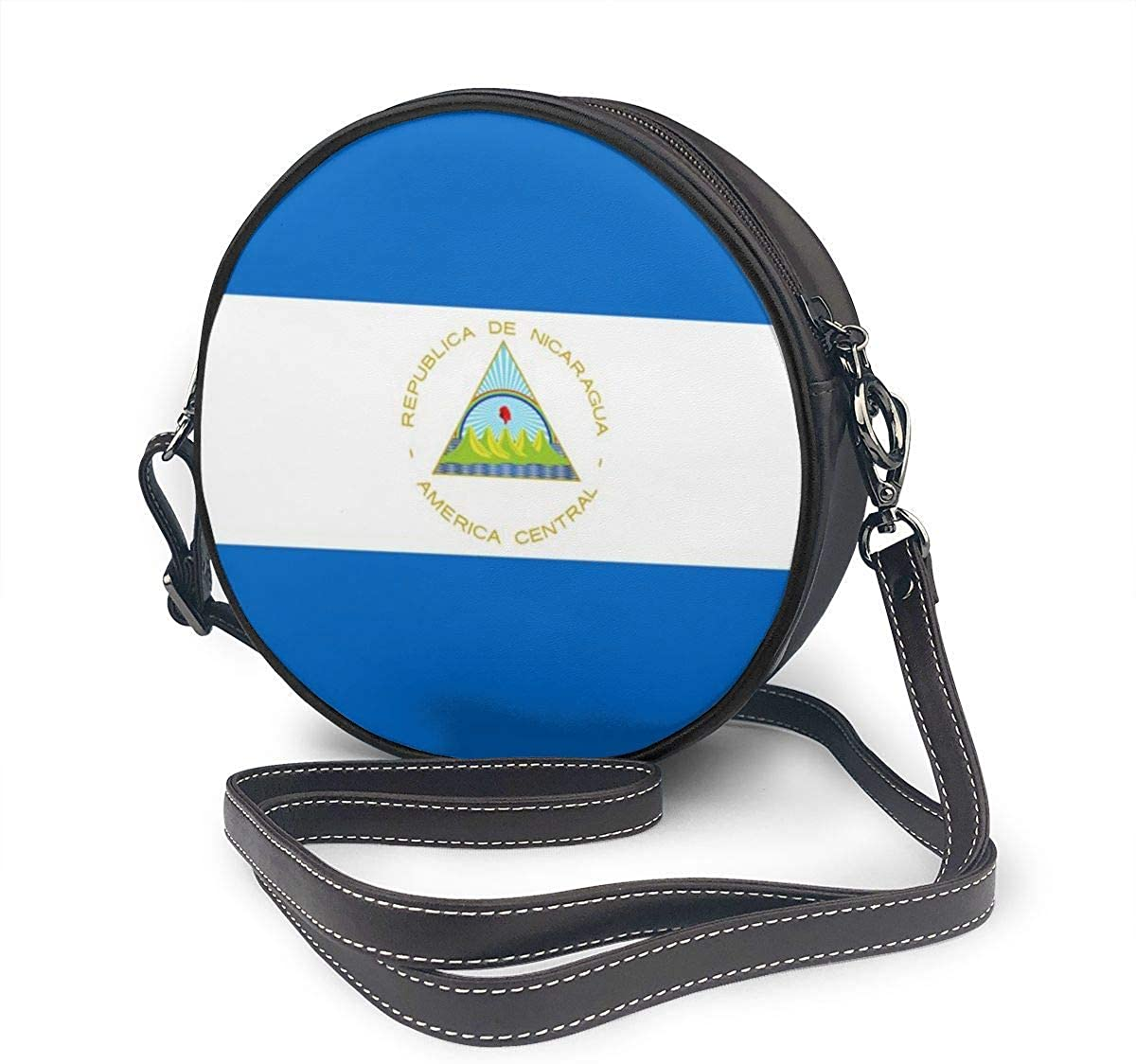fhjhfgjghfjghfj Women Round Crossbody Bag Bolso bandolera, Nicaragua Flag Handbag Purse Single Shoulder Bag PU Leather Chain Strap Handle Tote