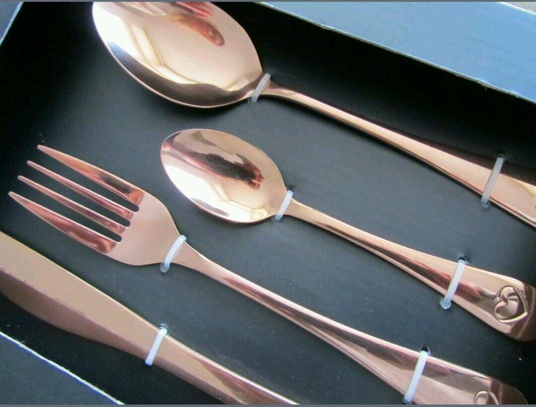 Contemporáneo Con Estilo COBRE Cubiertos 16 Piezas Cuchillo Tenedor Cucharilla CUCHARA COCINA: Amazon.es: Hogar