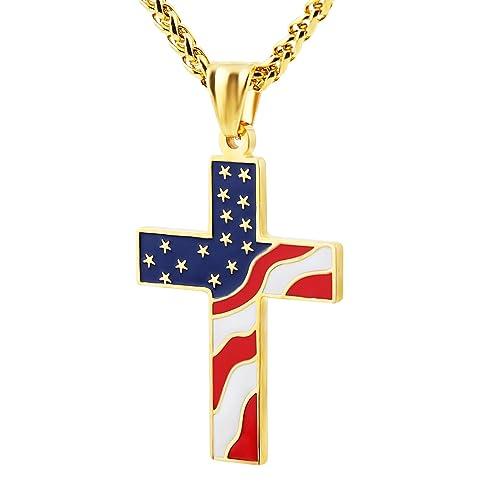Amazoncom HZMAN American Flag Patriotic Cross Religious Jewelry
