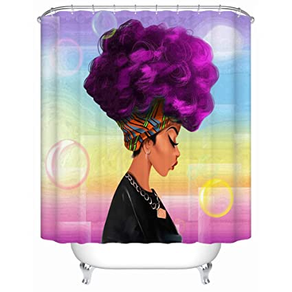 African Woman Shower Curtain With Purple Hair Afro Hairstyle Design Portrait Picture Print Polyester Fabric Bathroom