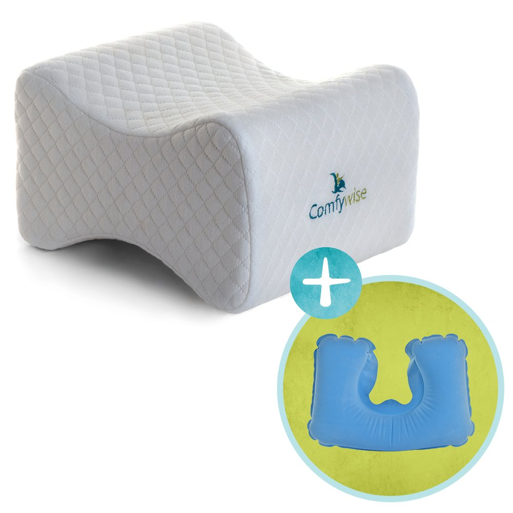 Comfywise™ White Orthopedic Knee Pillow for Side Sleepers: Memory Foam Leg Wedge for Joint and Back Pain, Sciatica Nerve, and Sleeping Relief plus More