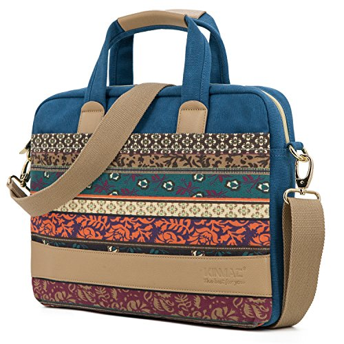 Kinmac New Bohemian-Blue Waterproof Laptop Shoulder Messenger Bag for MacBook Air 13