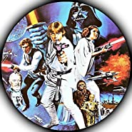 "Star Wars Darth Vader Yoda Luke Skywalker Photo Sugar Frosting Icing Cake Topper Sheet Birthday Party - 8"" ROUND - 75157"
