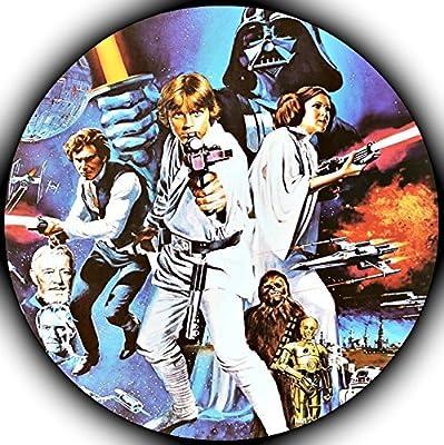 "Star Wars Darth Vader Yoda Luke Skywalker Photo Sugar Frosting Icing Cake Topper Sheet Birthday Party - 8"" ROUND - 75157"
