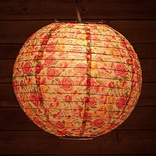 PaperLanternStore.com 14 Inch Liberty Print Fuchsia Rose Floral Pattern Paper Lantern, Design by Esper (Floral Paper Lantern)