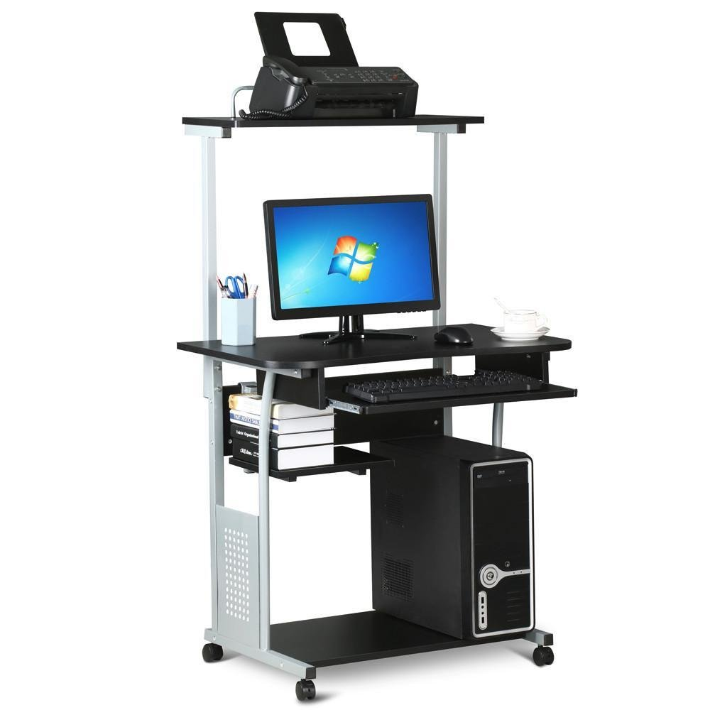 Topeakmart 2 Tier Computer Desk with Printer Shelf Keyboard Tray Home Office Rolling Study Table Black