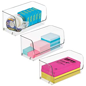 mDesign Plastic Stackable Bin with Open Front for Organizing Home Office, Desk Drawer, Shelf or Closet to Hold Staples, Highlighters, Sticky Notes, Adhesive Tape, Paperclips, Small, 3 Pack - Clear