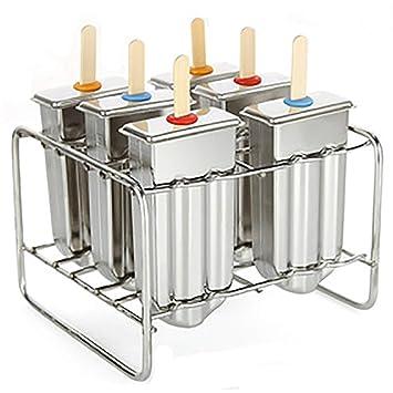 chasgo Homemade Ice Lolly paleta moldes de acero inoxidable Set – 6 hielo Pop fabricantes con