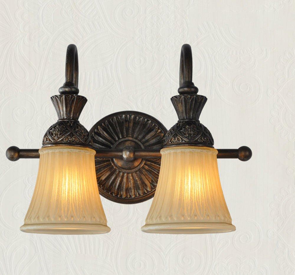 GUORONG Espejo luces delanteras, clásica lámpara de pared de estilo americano Espejo frente luces Luces de baño Lámpara de hierro Luces antiguas Estilo europeo Lámparas retro Lámpara de pared de mesa