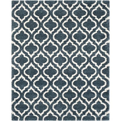 Safavieh SGH284L-8 Hudson Shag Collection Moroccan Geometric Area Rug, 8' x 10', Slate Blue/Ivory (Hudson Collection)