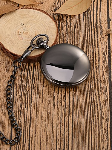 Mudder Classic Smooth Surface Mechanical Pocket Watch with Chain Xmas Birthday Wedding Father Day Gift (Black) by Mudder (Image #4)