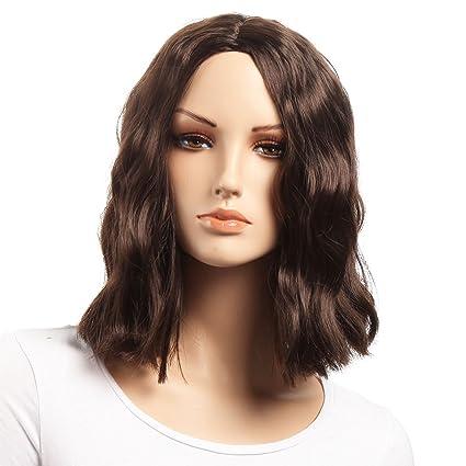 Pelucas cortas onduladas de BOB Color marrón Parte lateral Peluca Platinum de estilo popular Extensiones Kanekalon