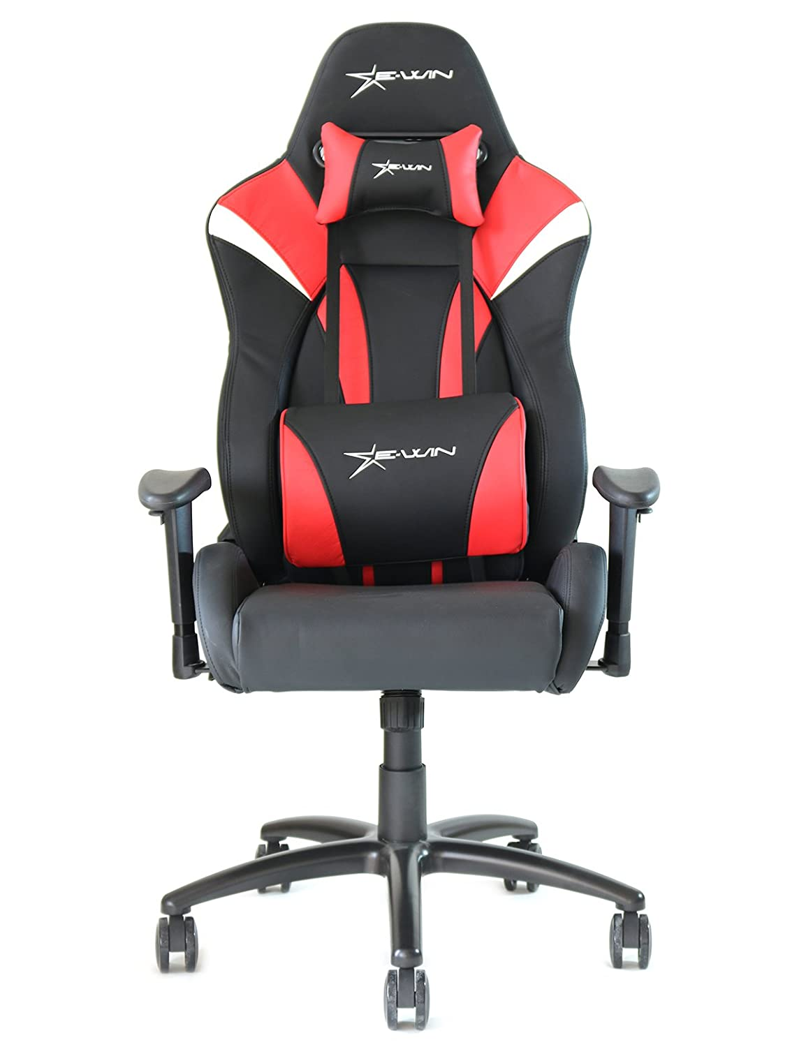 Ewin Chair Hero Series Ergonomic Computer Gaming Office Racing Chair with Pillows-HRE (Black/Red)