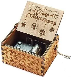Evelure Caja de música Antigua de Madera Vintage Feliz Navidad-18 Mecanismo de Nota Caja Musical de manivela Tallada Antigua Reproducir música de Feliz Navidad (A-Wood): Amazon.es: Hogar