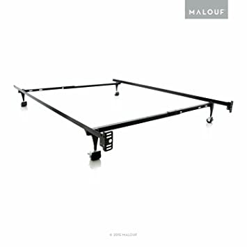 structures twinfull adjustable metal bed frame with rug rollers