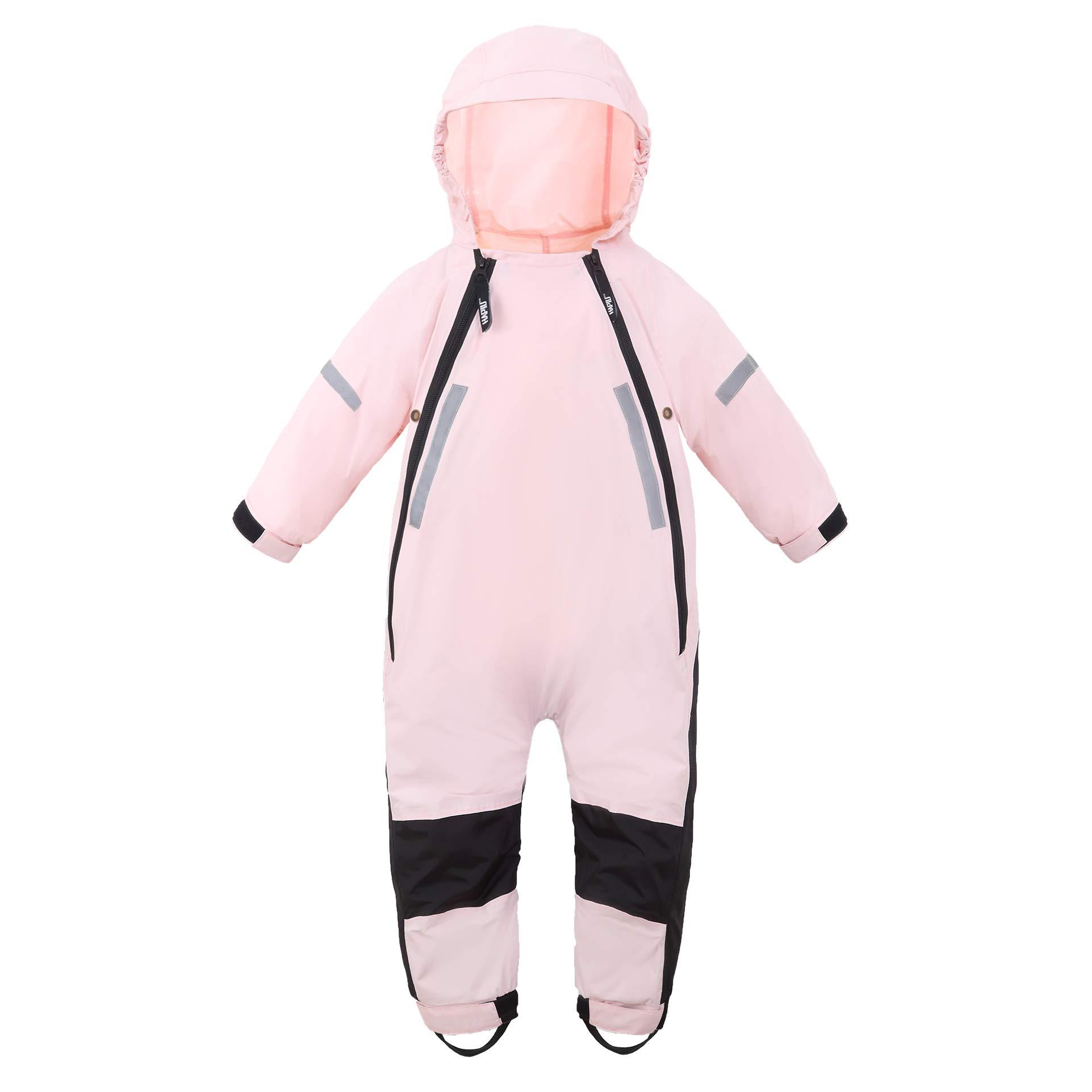 HAPIU Kids Toddler Rain Suit Muddy Buddy Waterproof Coverall,Pink,12M,Upgraded