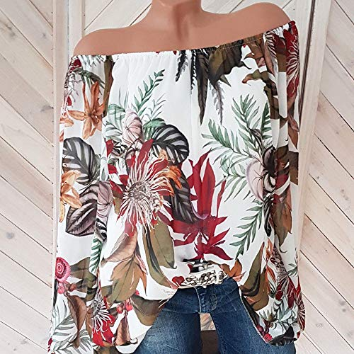 Shoulder Et White Lolittas Floraux Longues Off Chemisier Femmes La Chemise Les Tops Pull des Taille Motifs Manches gFwHzFqS