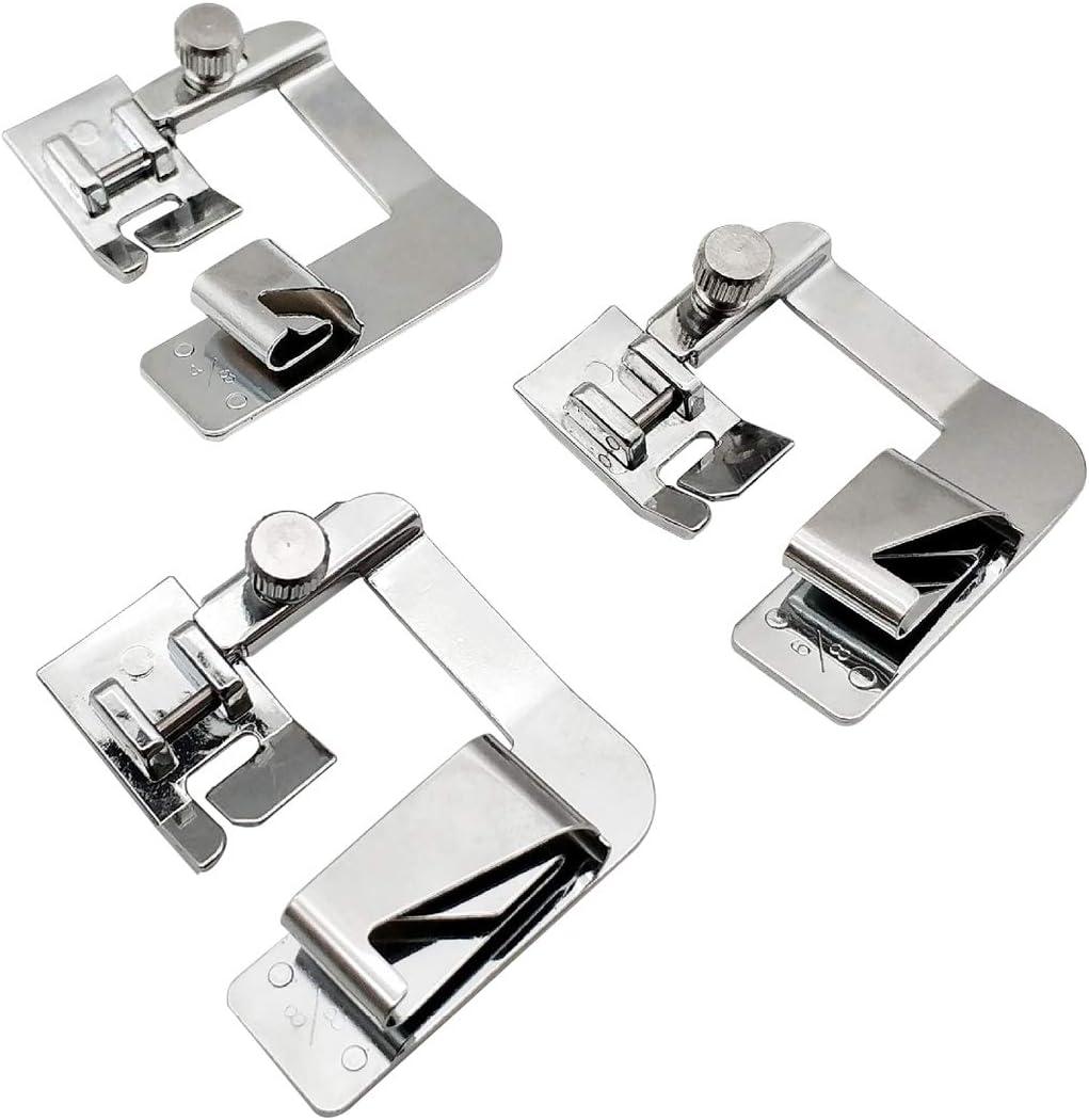 JXJH - Juego de prensatelas para dobladillo ancho y rodillo, 3 tamaños (4/8 pulgadas, 6/8 pulgadas, 1 pulgada) para máquina de coser de caña baja, kit de prensatelas ajustable para dobladillo