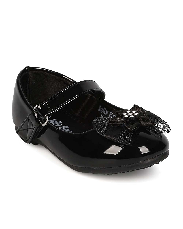 Toddler EI36 Alrisco Girl Patent Leatherette Mesh Bow Mary Jane Ballerina Flat Black