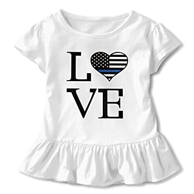 Kids Girls Love Thin Blue Line Flag Short Sleeve Ruffled T-Shirt Tops (2