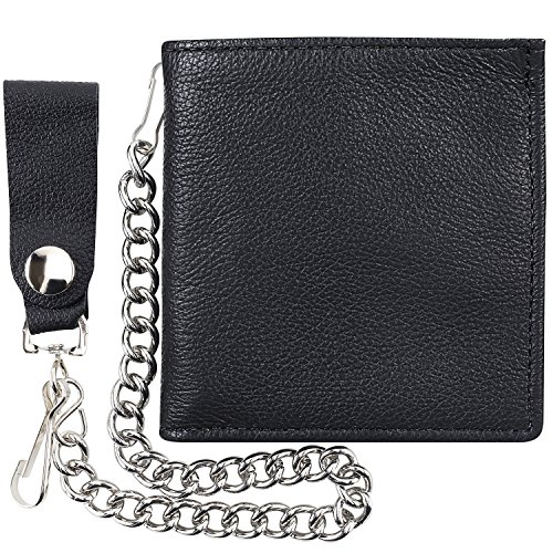 RFID Blocking Mens Top Grain Leather Hipster Steel Chain Wallet,Made in USA,BLACK,TC802