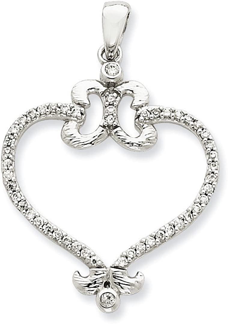 925 Sterling Silver Cubic Zirconia Cz Heart Pendant Charm Necklace Love Fine Jewelry For Women Gifts For Her