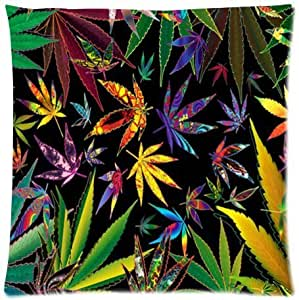 Funny Marijuana Weed Leaf Nature Green Lifestyle Zippered Pillow Protector 18X18 inch (one side)