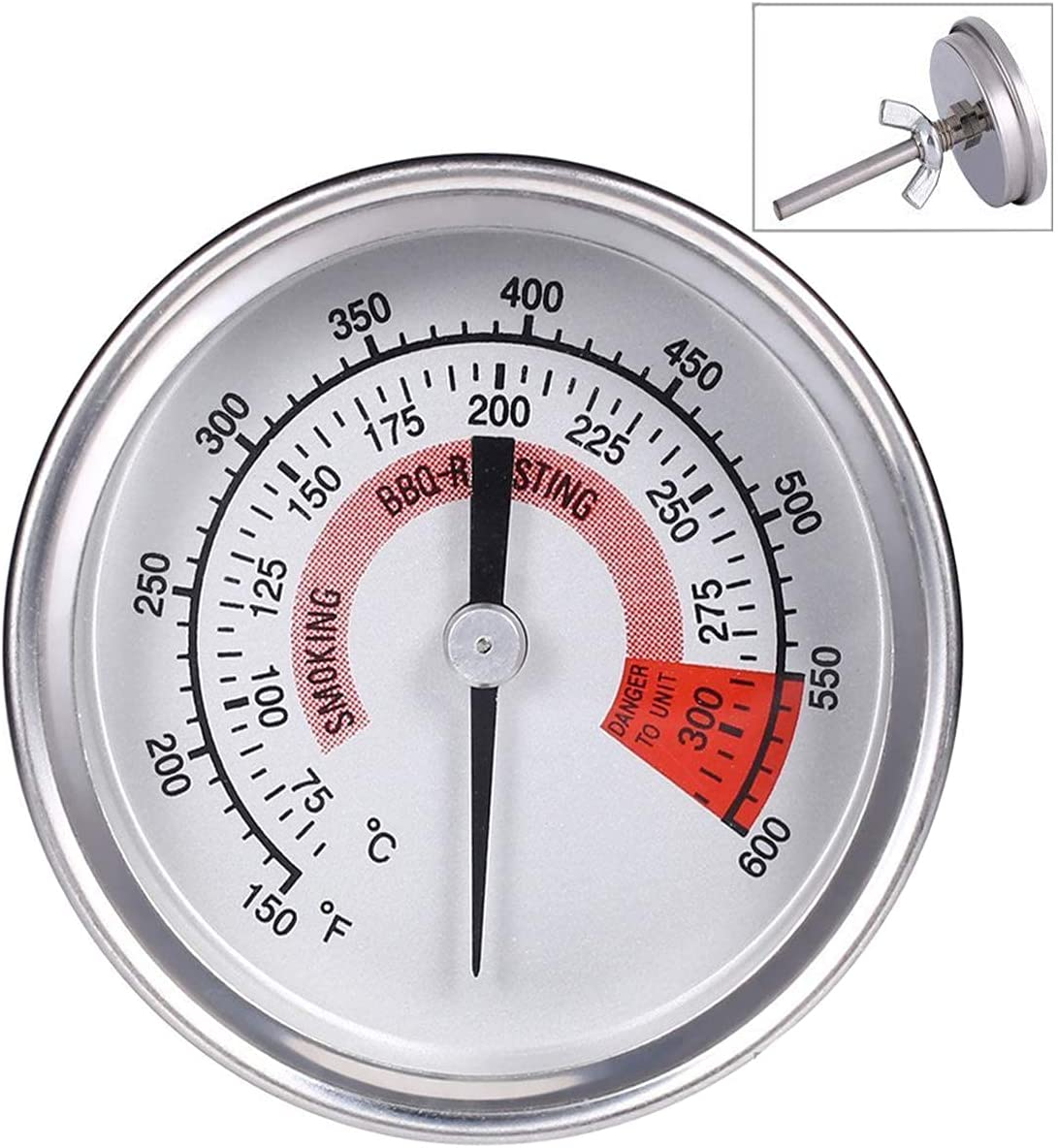 Ecloud ShopUS Grill Thermometers Barbecue Charcoal Grill Smoker Temperature Gauge Pit BBQ Thermometer Kitchen 300°C Stainless Steel