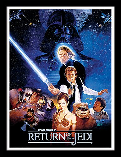Poster Star Wars Official - iPosters Star Wars Return Of The Jedi One Sheet Framed 30 x 40 Official Print - Overall Size: 36 x 46 cm (14 x 18 inches) Print Size: 30 x 40 cm