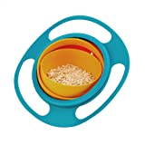 Beaverve 360 Degree Rotate Spill-Proof Gyro Bowl with Lid for Toddler Baby Kids Children, Creative Food Snacks Bowl Practice Feeding Bowl, Universal Rotating Bowl, Random Color