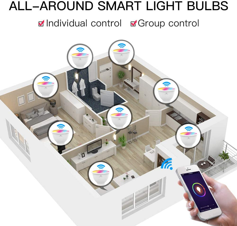 4.5W Saving Energy RGB LED Dimmable Lamps,Remote Control No Hub Required,Compatible with  Alexa and Google Home Funli GU10 Wi-Fi 2.4GHz Smart Light Bulbs,GU10 led Bulbs