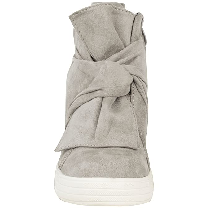 Baskets mi-hautes - talon compensé haut - noeud décoratif - femme   Amazon.fr  Chaussures et Sacs 60c86b041555
